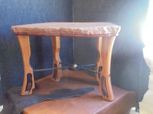 Small Red Sandstone Table w/Cherry Legs