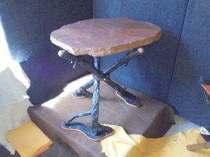 Red Sandstone Table w/Steel Legs