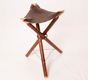 Buffalo Leather Folding Stool