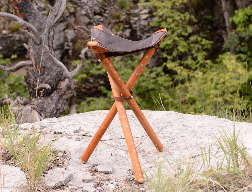 Three Legged Leather Stool In Stock Free Delivery Set Of